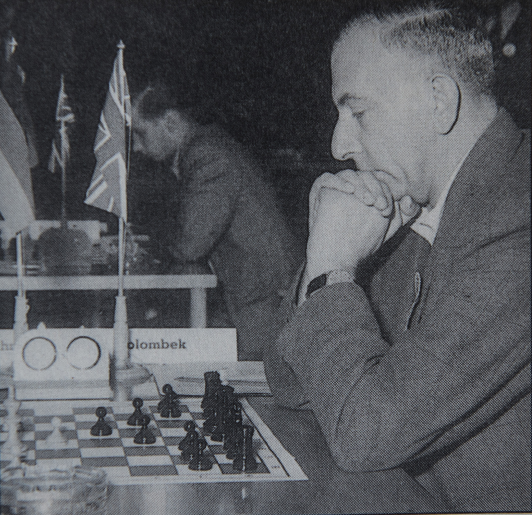 Harry Golombek during a team event, Jonathan Penrose on the adjacent board.