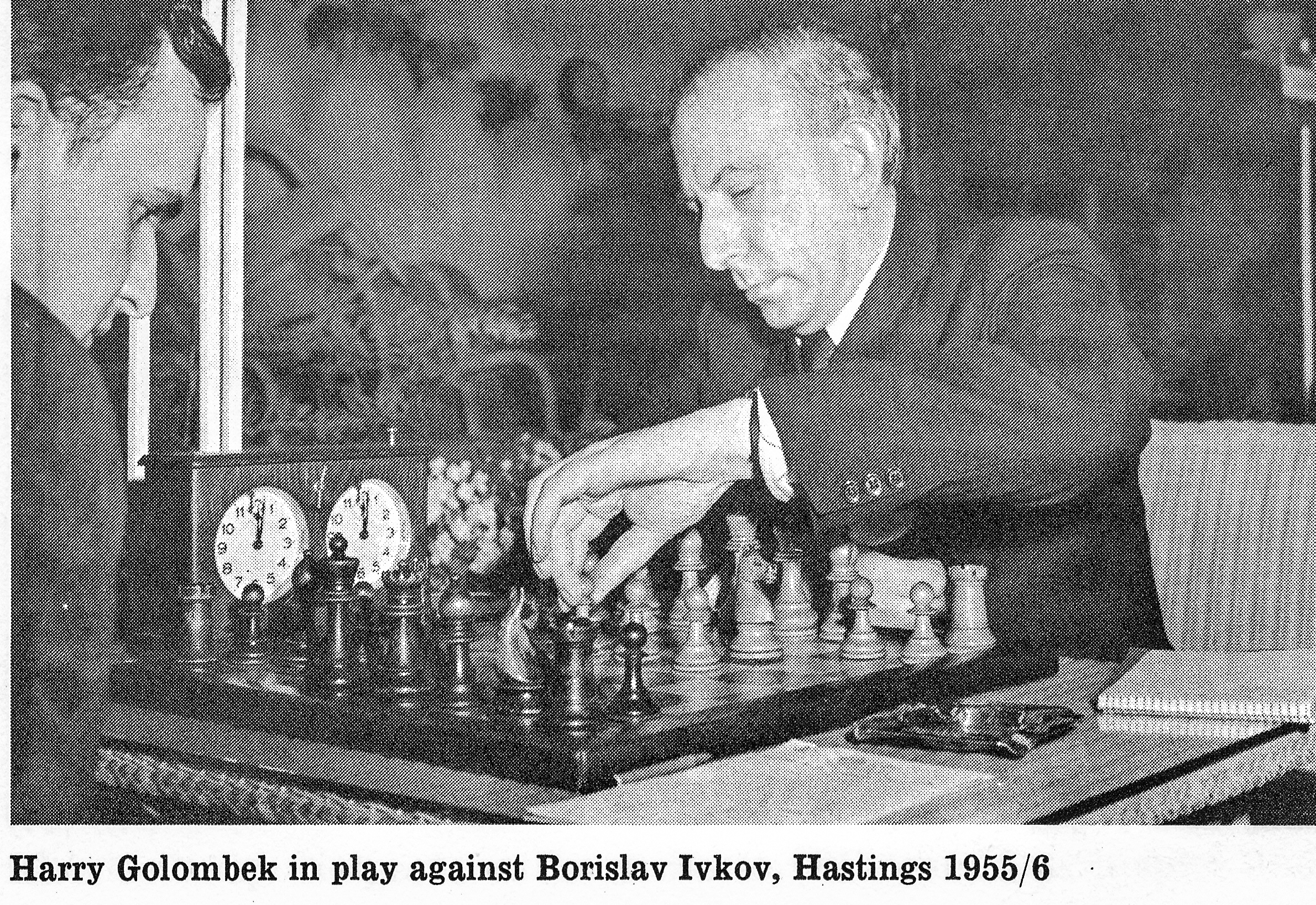 Harry Golombek in play against Borislav Ivkov, Hastings 1955/6.