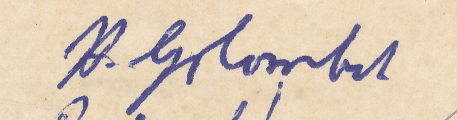 "Signature of H Golombek from a Brian Reilly ""after dinner"" postcard from Southsea 1951."