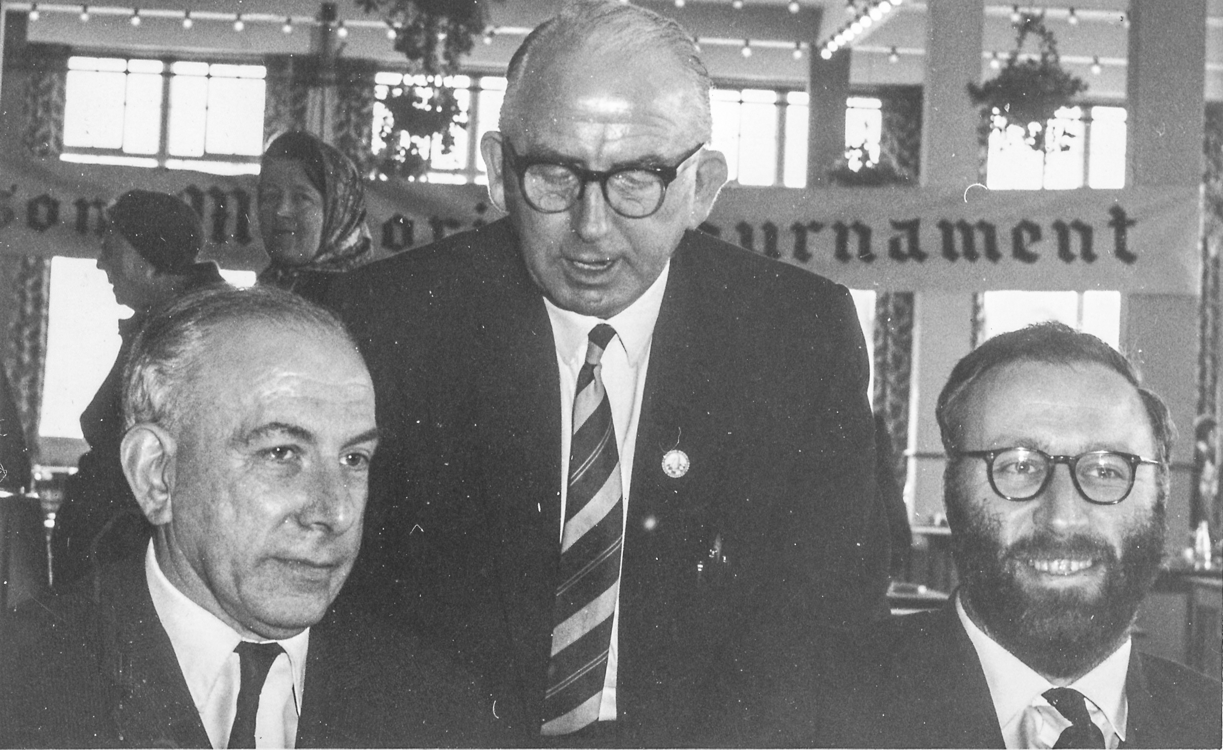 Harry Golombek, Norman Fishlock-Lomax and Denis Victor Mardle at the Stevenson Memorial Tournament at Bognor Regis, 1969 (?)