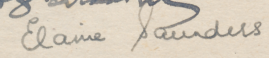 """Signature of Elaine Saunders from a Brian Reilly """"after dinner"""" postcard from Hastings Christmas Congress, 1945-1946"""