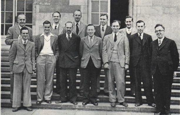 Players at the 1946 British Championships in Nottingham : Back (from left to right): Gabriel Wood, Reginald Broadbent, Philip Milner-Barry, Andrew RB Thomas, Baruch H Wood. Front (from left to right): Bob Wade, Frank Parr, William Winter, Robert Combe, Hugh Alexander, Harry Golombek, Gerald Abrahams.. Photograph : BritBase