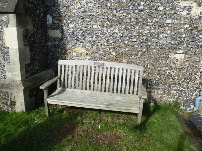 The Harry Golombek memorial bench at  St Giles Churchyard, Chalfont St Giles in Buckinghamshire. Photogra[h courtesy of Geoff Chandler.