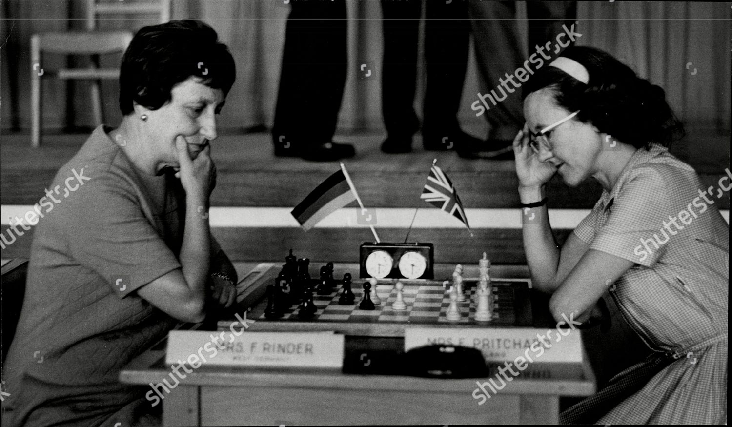 Friedl Rinder (Germany) plays Elaine Pritchard at the Havering Women's Tournament in Romford on August 25th 1967. Tournament was won by Nona Gaprindashvilli Mandatory Credit: Photo by ANL/Shutterstock (1876414a)