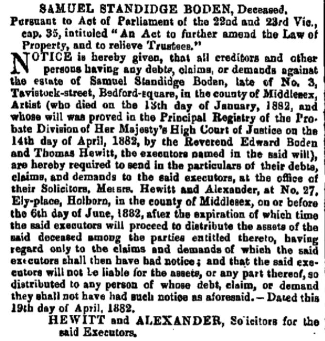 Death notice for Samuel Standidge Boden from The London Gazette of 21 Apr 1882