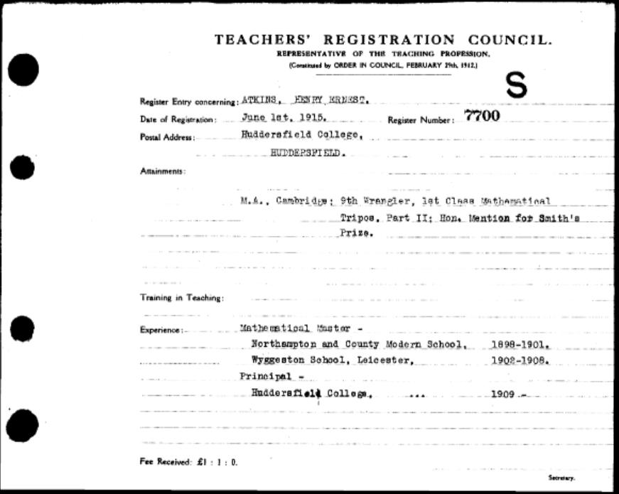 Teacher registration form for Henry Ernest Atkins