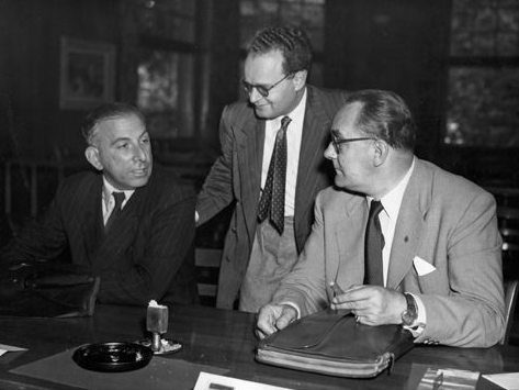 The Judges / Arbiters from the 1953 Zurich Candidates tournament : Harry Golombek, Alois Nagler and Alex Crisovan
