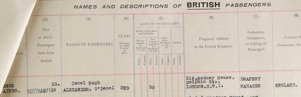 Partial passenger manifest for the RMS Alcantara for September 19th, 1939. Alexander is passenger #23.