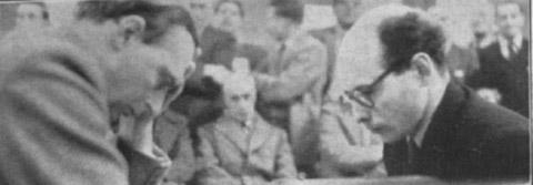 Hugh Alexander plays David Bronstein during Hastings 1954