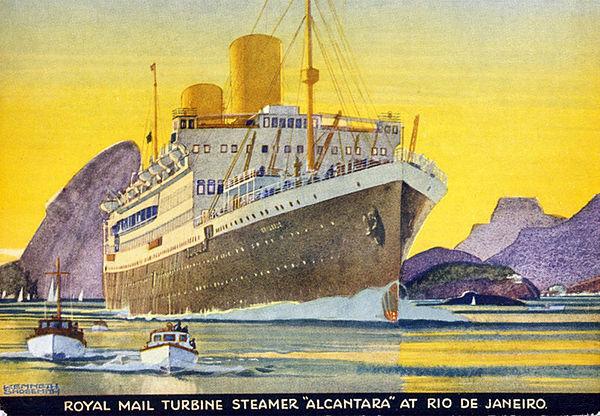 RMS Alcantara off Rio de Janeiro between 1934 and 1939 by Kenneth Shoesmith