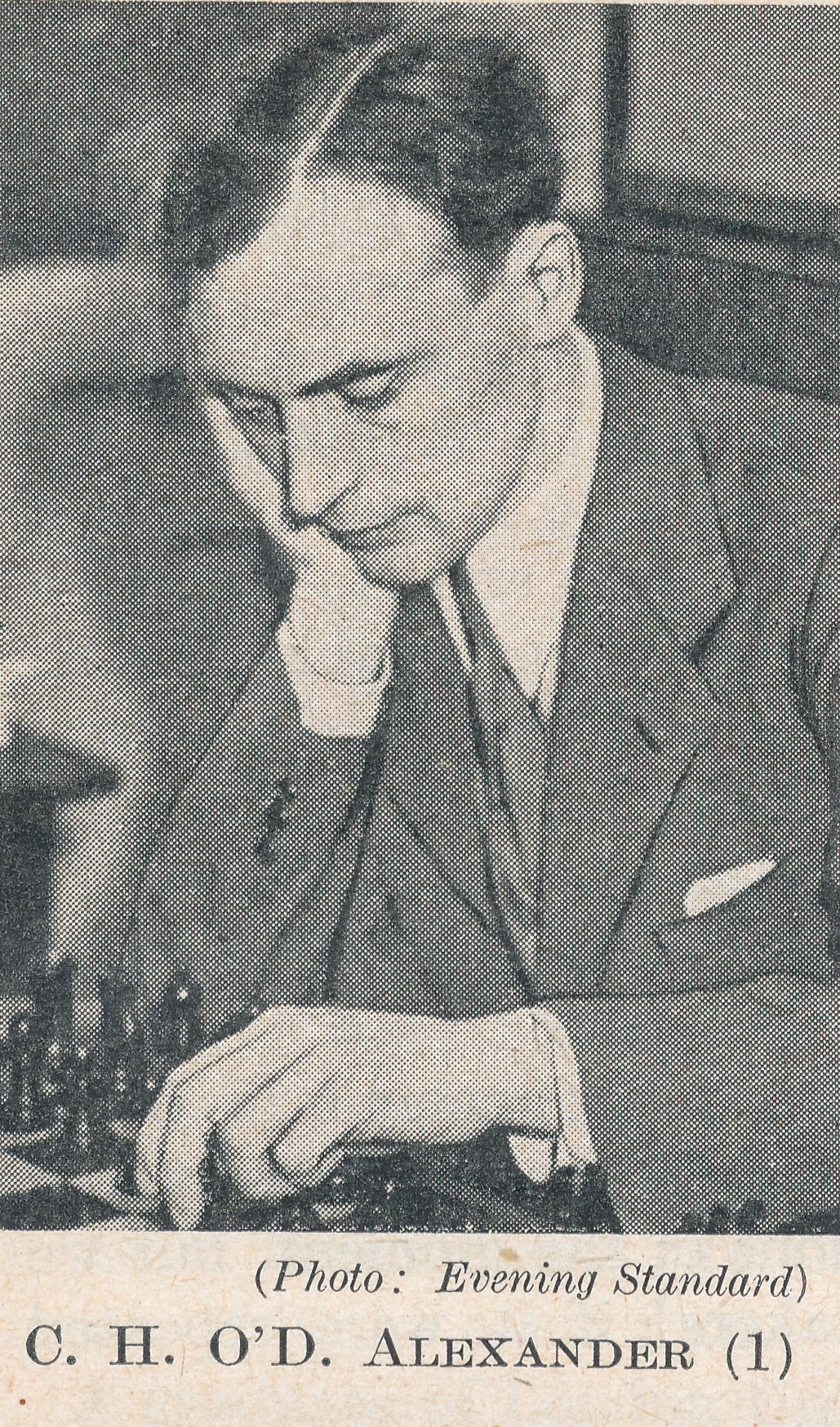 IM Conel Hugh O'Donel Alexander CMG CBE (19-iv-1909 15-ii-1974). Source : The Anglo-Soviet Radio Chess Match