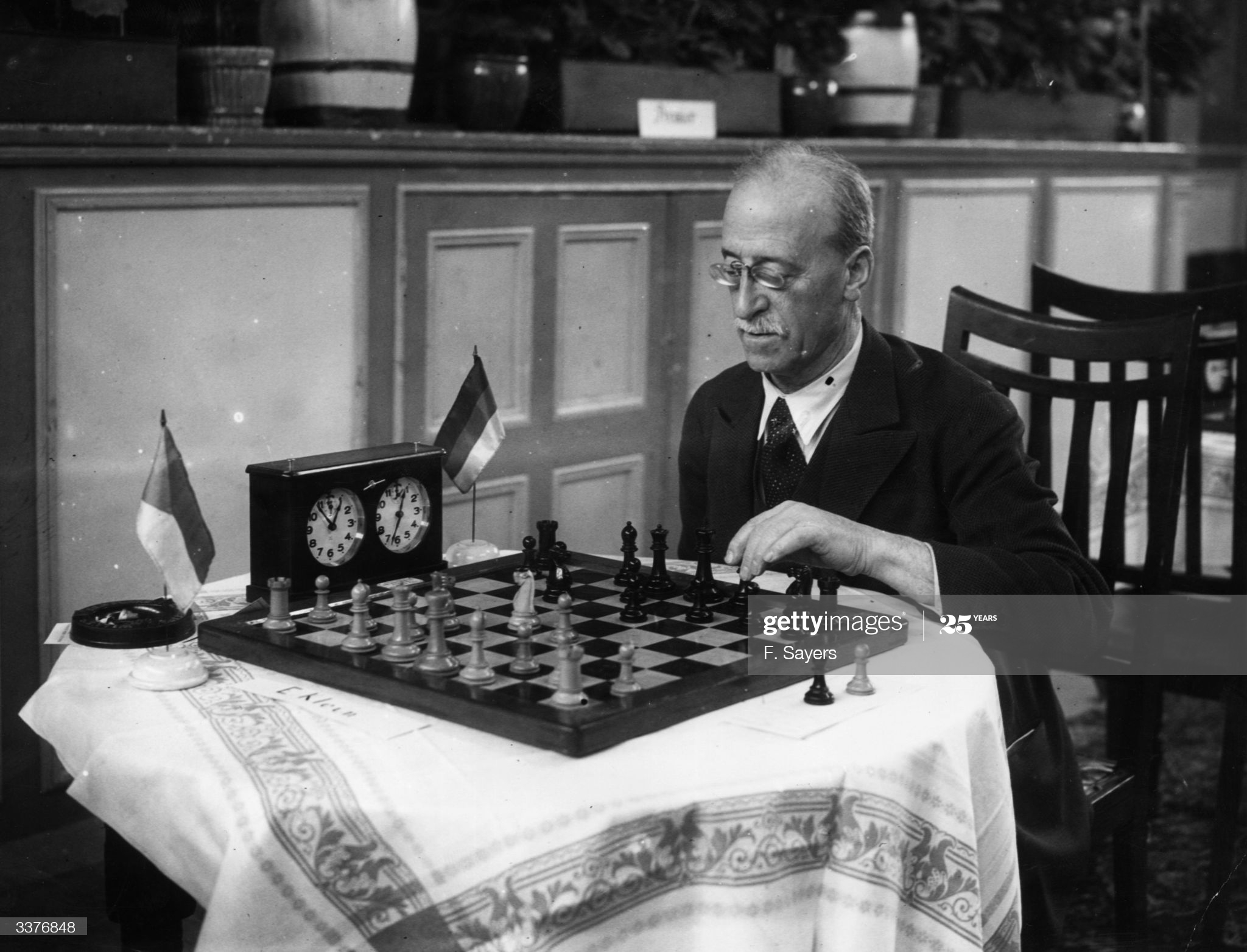 24th April 1935: J Mieses of Germany in play against PS Milner-Barry during the Premier Tournament of the Kent County Chess Association in the Grand Hotel, Margate. (Photo by F. Sayers/Topical Press Agency/Getty Images)