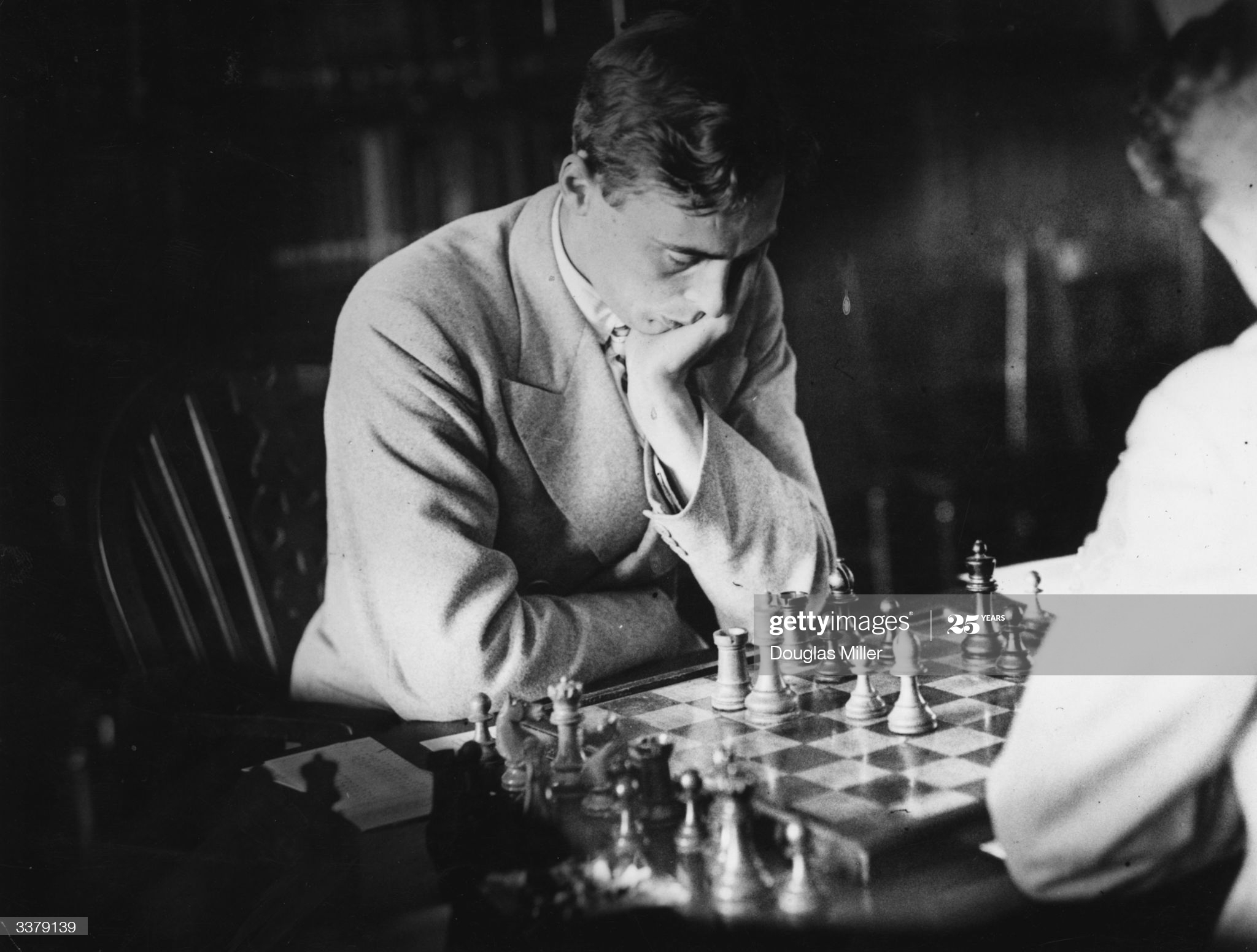 1st August 1933: C H O D Alexander playing Sultan Khan during the British Chess Championships at Hastings in Sussex. (Photo by Douglas Miller/Topical Press Agency/Getty Images)