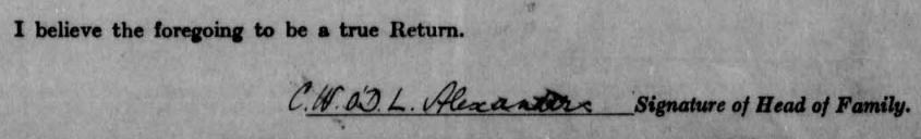 Signature of Hugh's father on 1911 Irish census Return