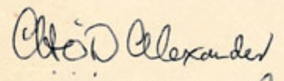 Signature of CHO'D Alexander from August 1970