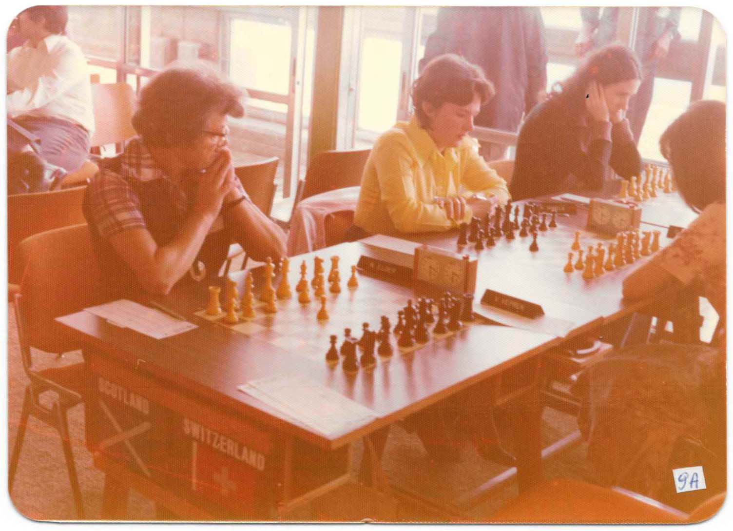Haifa Olympiad 1976 - Scotland v Switzerland. From left: Nancy Elder, Kathleen Hindle, Lynne Houston. Courtesy of Chess Scotland