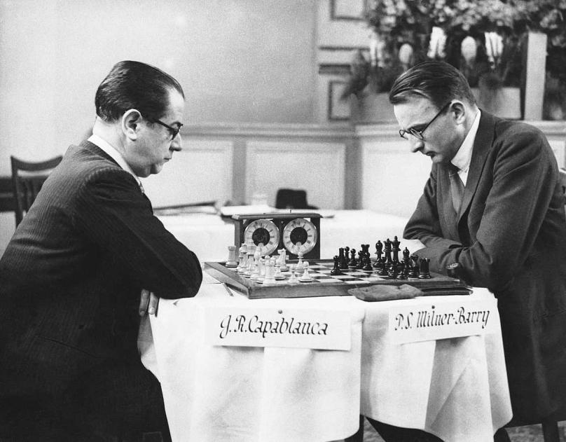 Capablanca and Stuart Milner-Barry at Margate, England, April 15, 1936. AP Photos