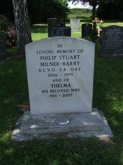 Great Shelford Cemetery Gravestone of Sir Philip Stuart Milner-Barry KCVO CB OBE by Geoffrey Gillon