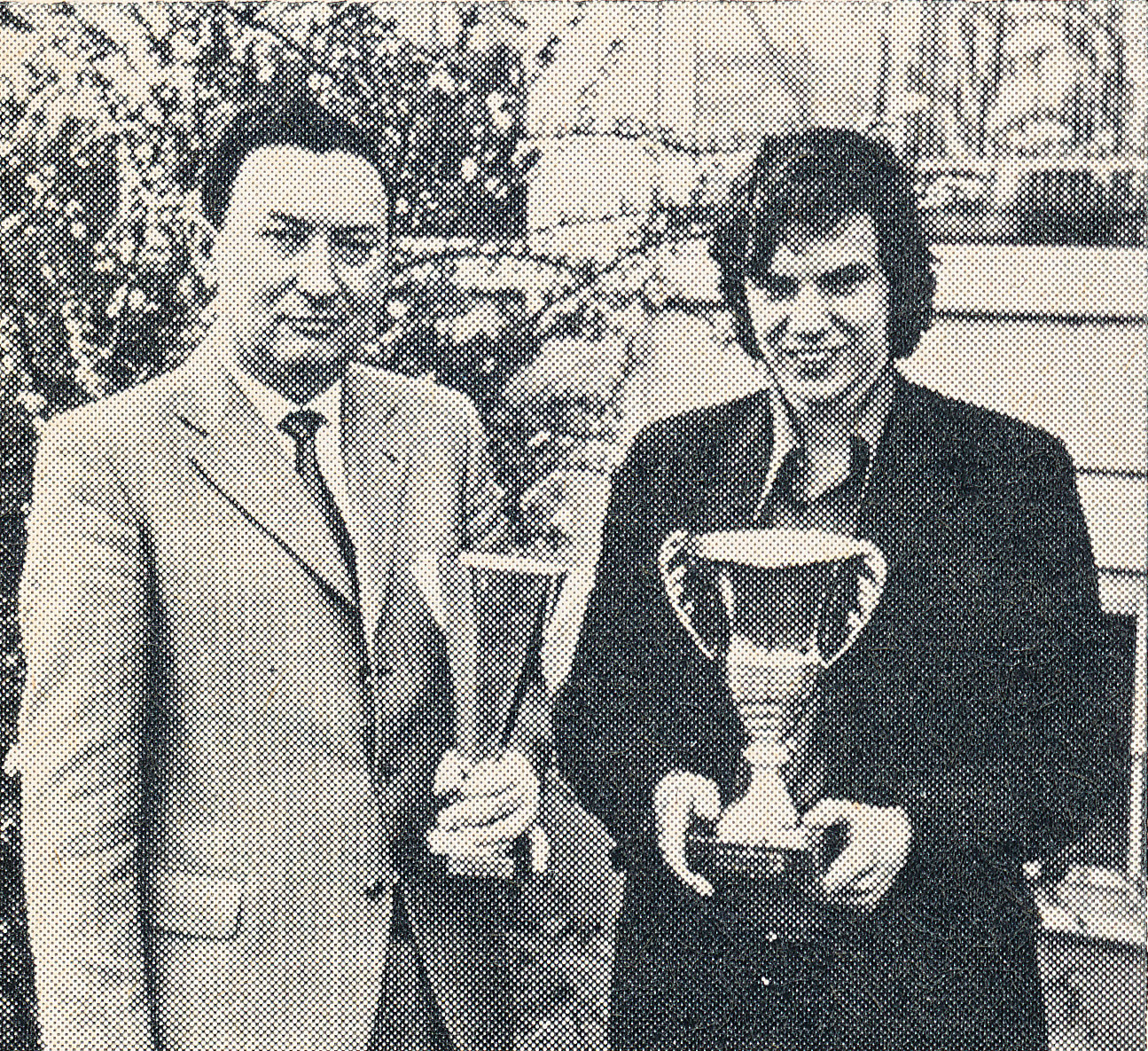 Joint winners of the 1973 Strasbourg Open : N. Karaklaic and Simon Webb. Photography by Mike Rose. CHESS, Volume 88, June, page 283