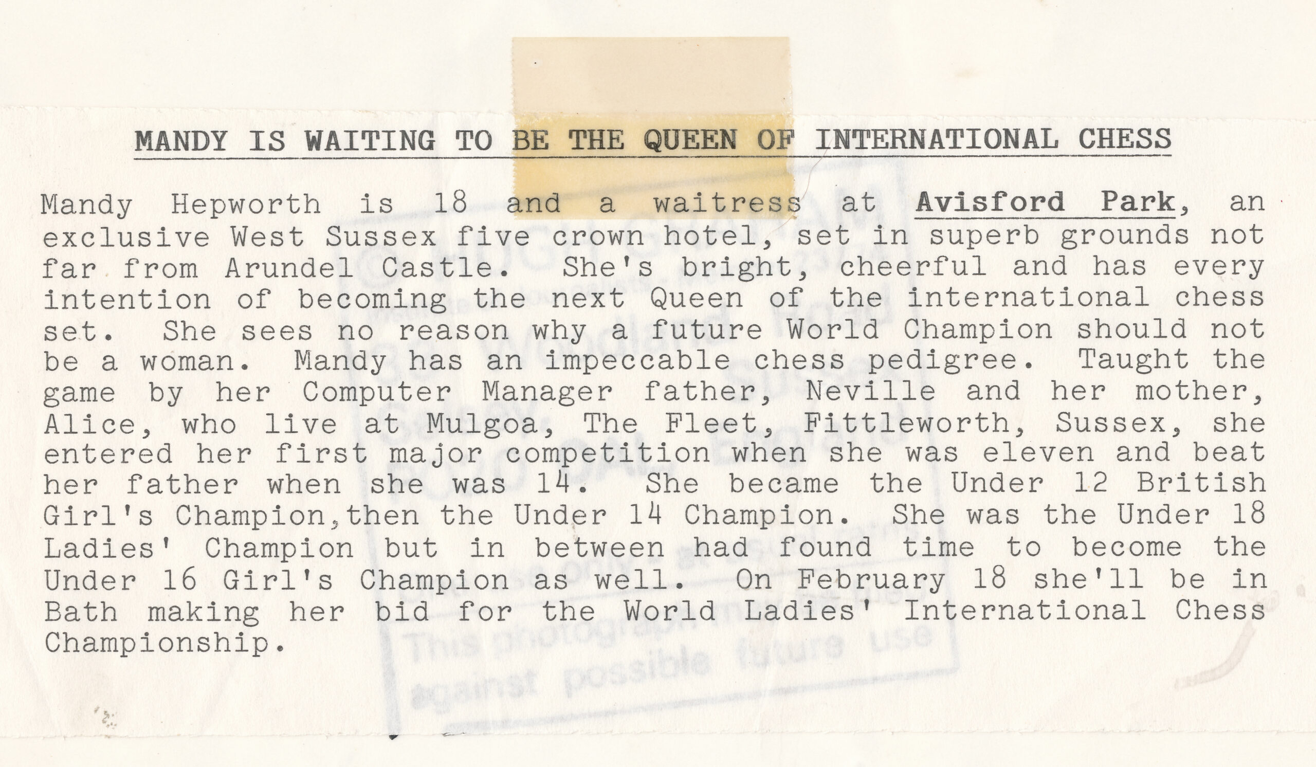 1986 Press Release for Mandy Hepworth. Warning : some details are not entirely accurate.