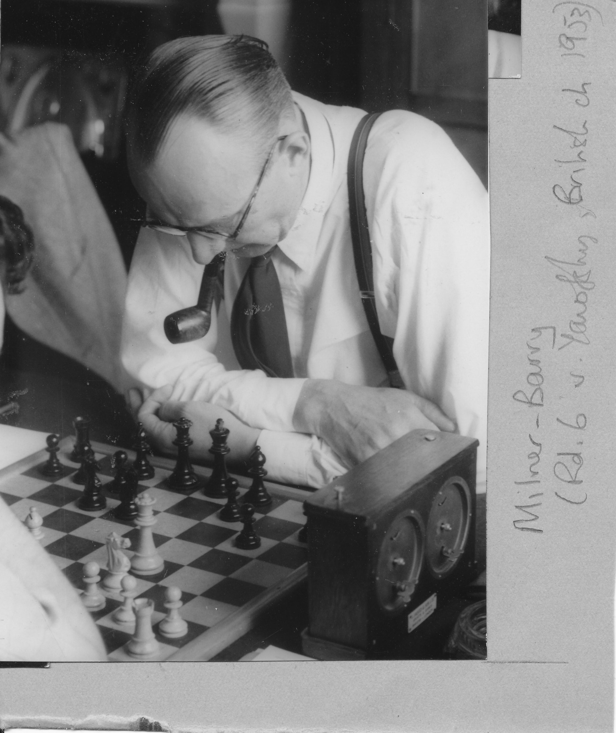 Sir Stuart Milner-Barry in play against Daniel Yanofsky from round 6 of the British Championship in Hastings, 15th August 1953