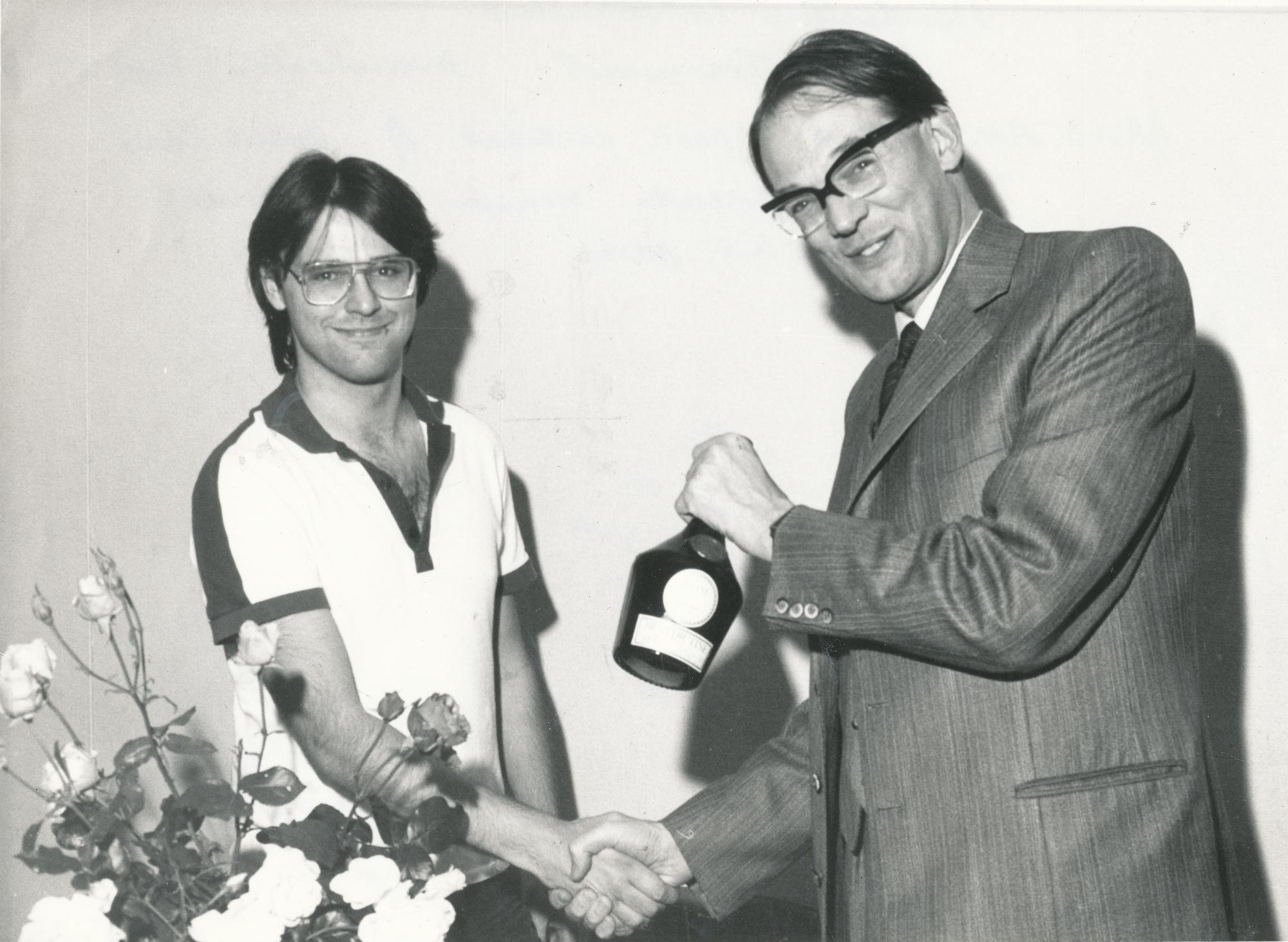 Jim Plaskett with David Anderton OBE at the 1983 Benedictine International (Manchester)