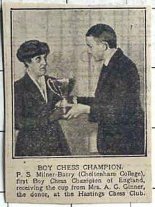 Boy Chess Champion PS Milner-Barry (Cheltenham College), first boy chess champion of England, receiving the cup from Mrs. AG Ginner, the donor , at the Hastings Chess Club
