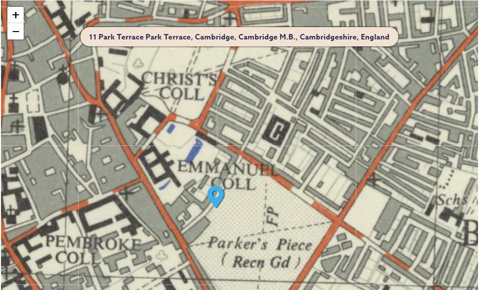Period map of the area of 11, Park Terrace, Cambridge, CB1 1JJ