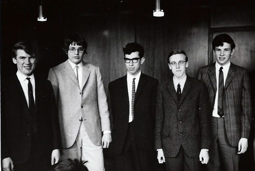 The Scottish Junior International, Glasgow, 1969. l-r: David Watt, Rene Borngässer, David Levy, Heinz Wirthensohn, Peter Markland. Courtesy of Chess Scotland