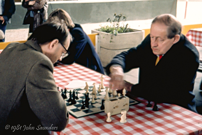 DW Anderton OBE plays BH Wood MBE in 1981 in a Blitz tournament outside of the National Film Theatre, photograph by John Saunders