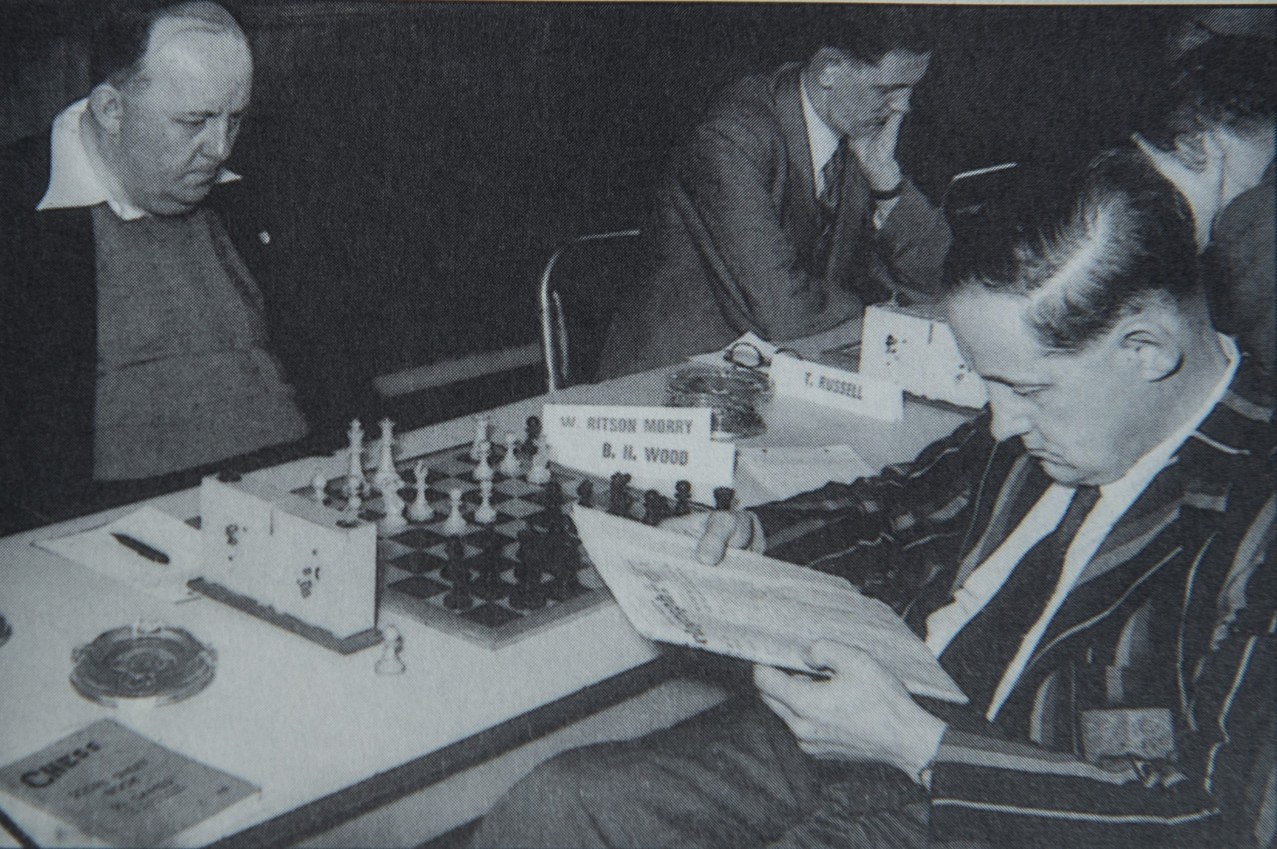 William Ritson Morry playing Baruch Harold Wood at the British Championships in Blackpool from 1956