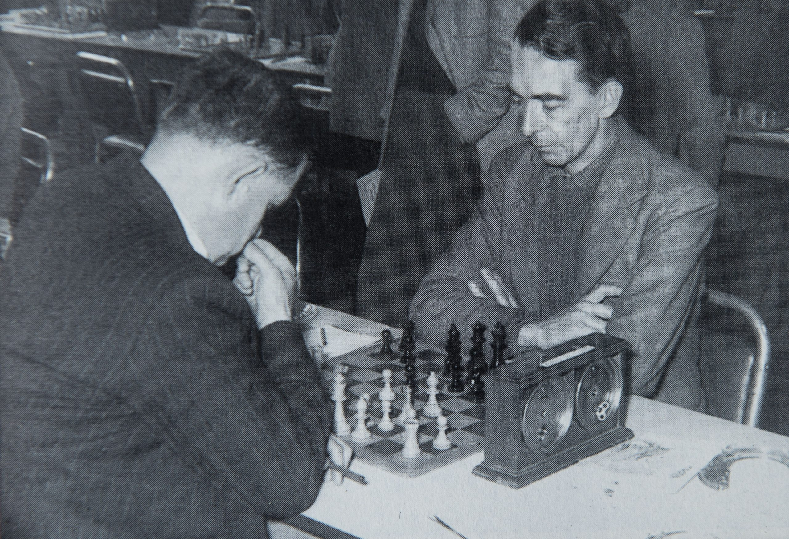 "BH Wood playing AY ""Johnnie"" Green in the 1956 British Championships in Blackpool, photographer unknown"