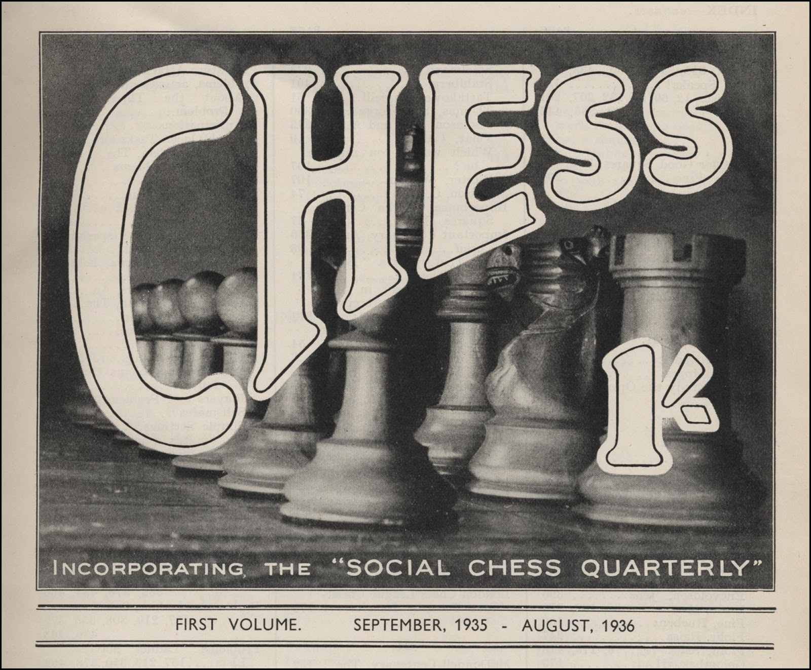CHESS Cover for volume 1, September 1935 - August 1936. Source : Michael Clapham