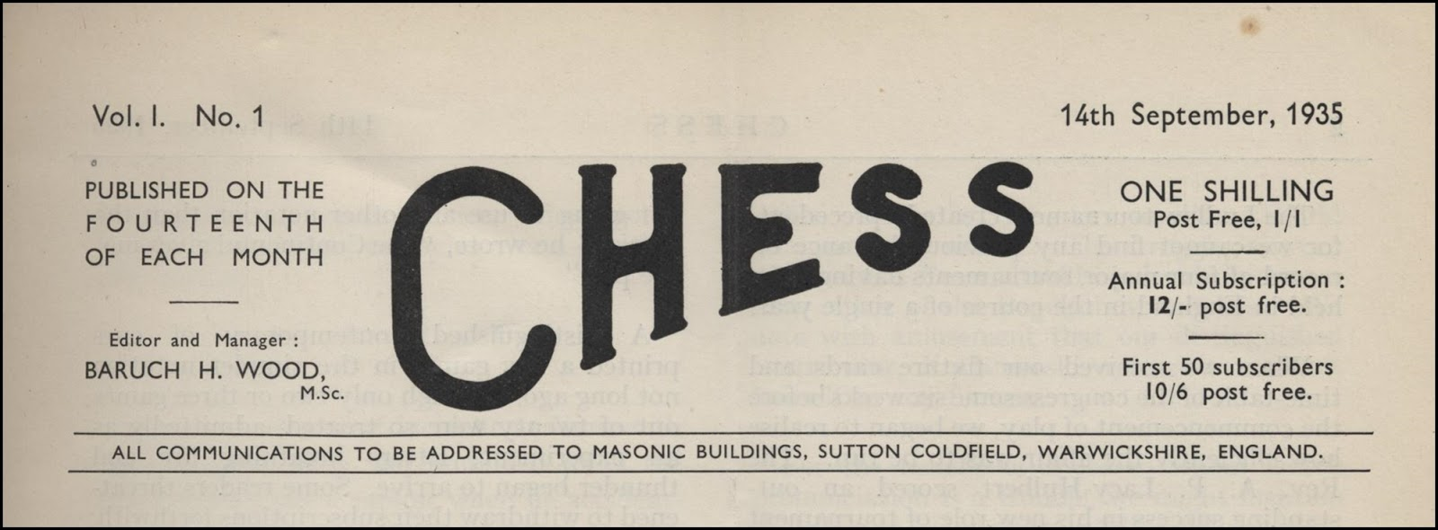 CHESS masthead for Volume 1, Number 1, 1935. Source : Michael Clapham