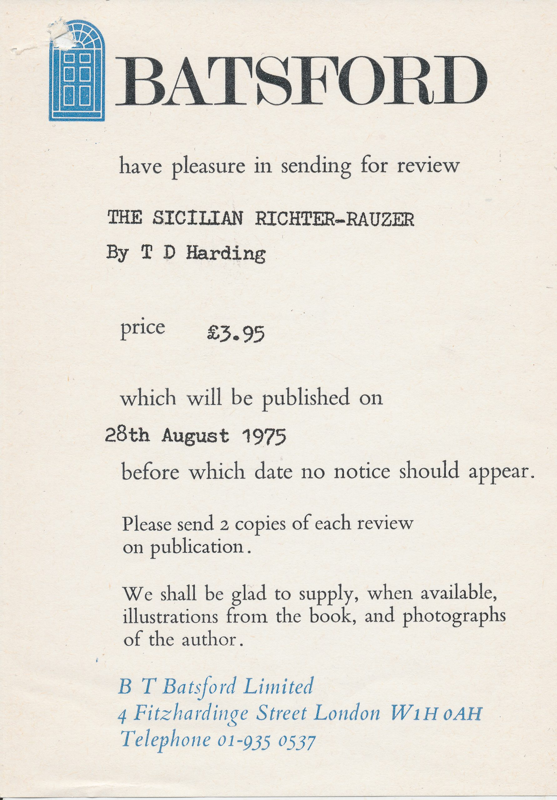 Review Notice for The Sicilian Richter-Rauzer, TD Hardign and PR Markland, Batsford, 975, ISBN 0 7134 2979 8