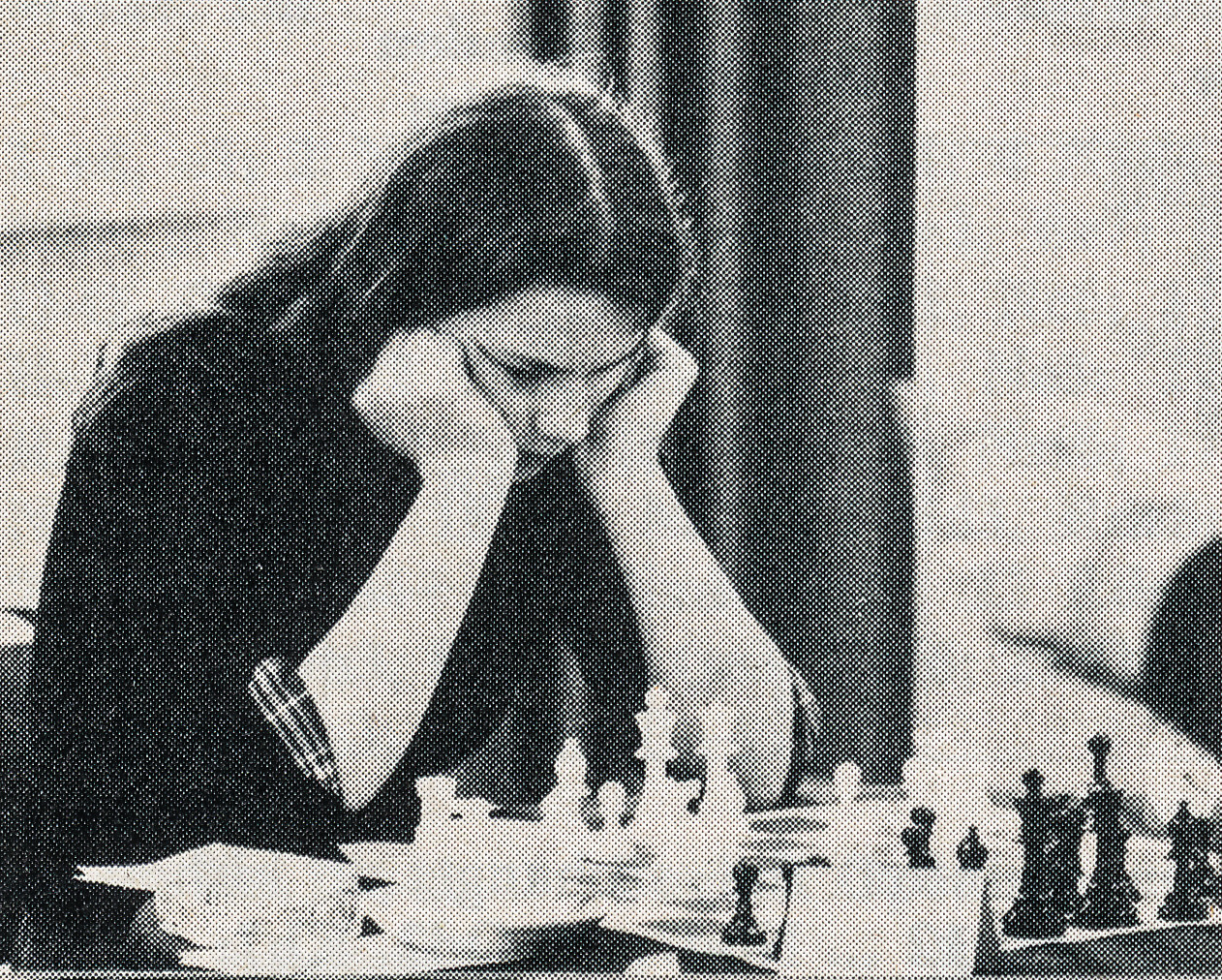 Susan Caldwell playing board two in the London - Belgrade Telex Match on April 3rd, 1976 from the St. James Hotel, Buckingham Gate. Sourced from BCM, Volume XCVI (96), Number 5, page 192. Photographer probably Freddy Reilly.