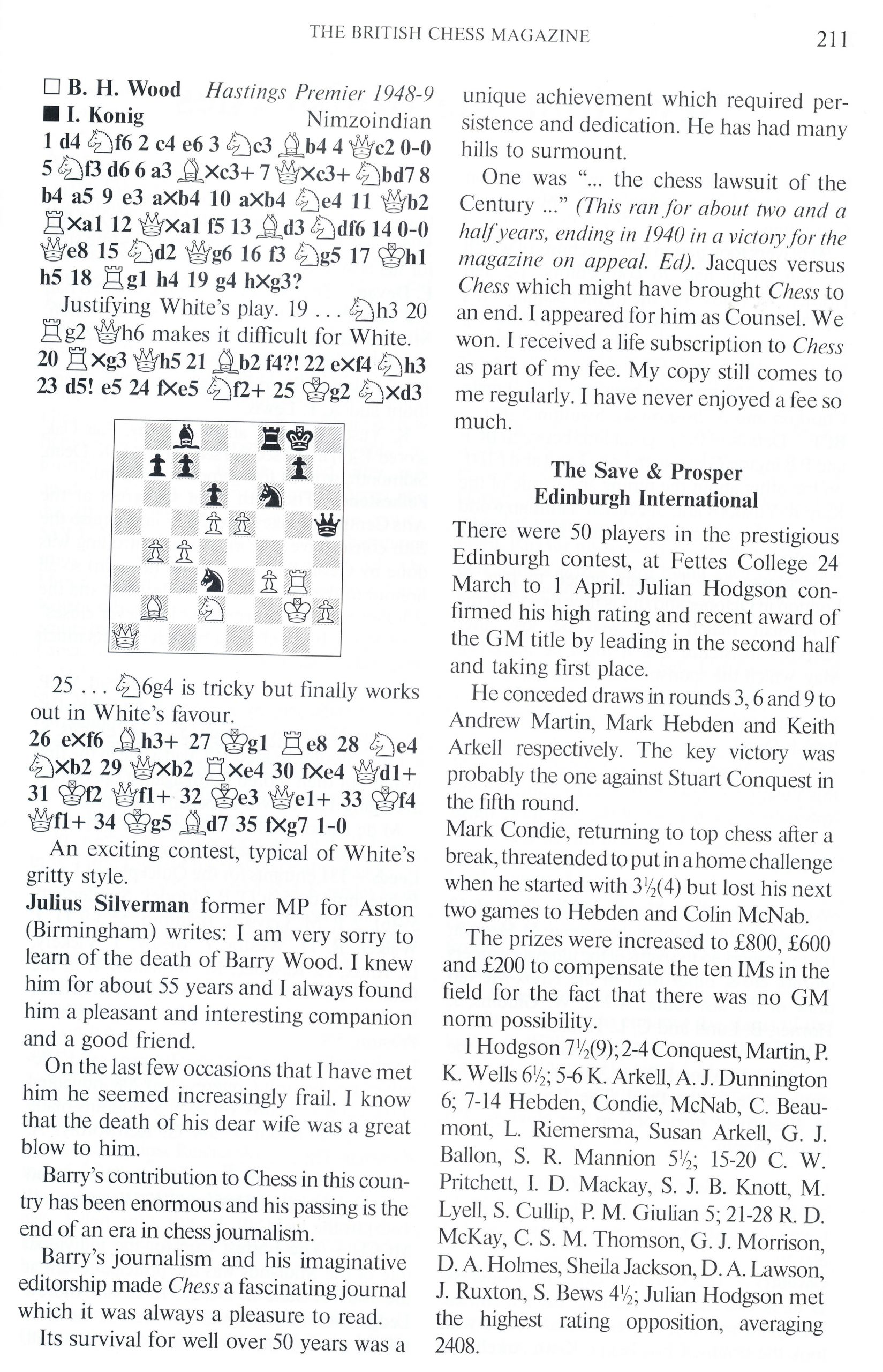 British Chess Magazine, Volume CX (109), Number 5 (May), page 211