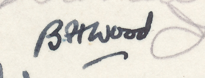 "Signature of BH Wood from a Brian Reilly ""after dinner"" postcard from Margate 1936."