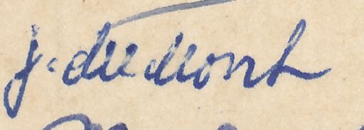 "Signature of J du Mont from a Brian Reilly ""after dinner"" postcard from Southsea 1951."