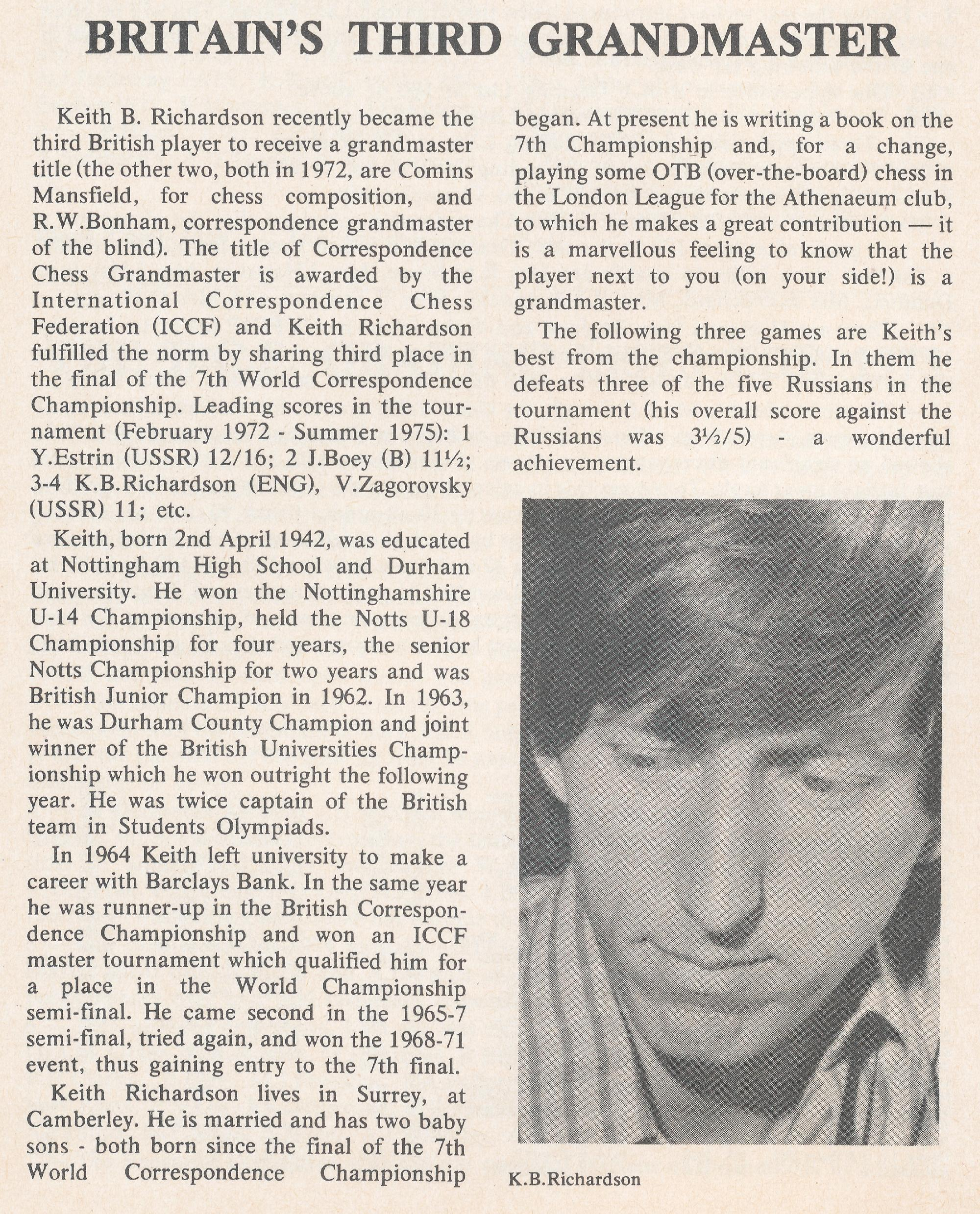 British Chess Magazine, Volume LIXIV (95, 1975), Number 12 (December), page 526