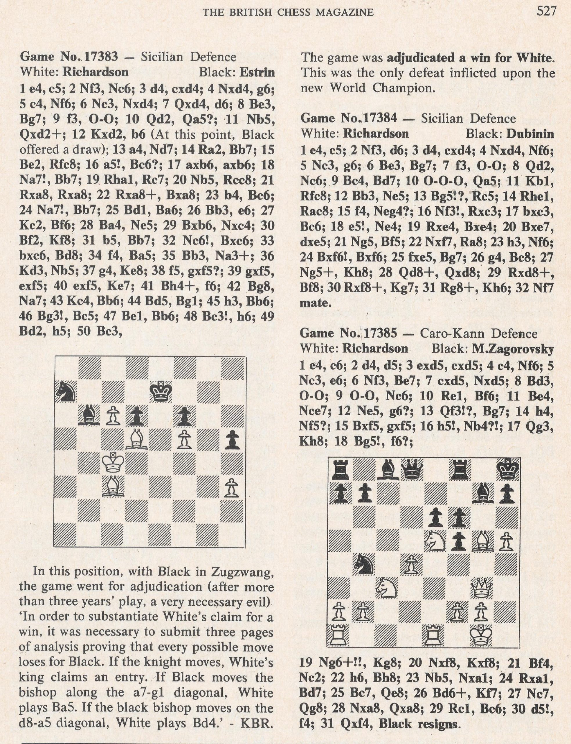 British Chess Magazine, Volume LIXIV (95, 1975), Number 12 (December), page 527
