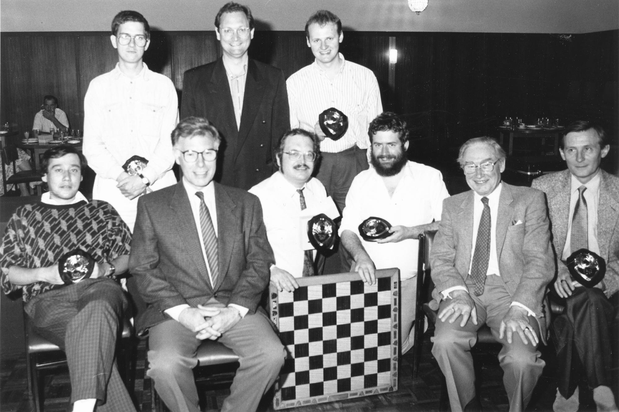 Gary Kenworthy (holding board) at a BCF National Club Final (1992)