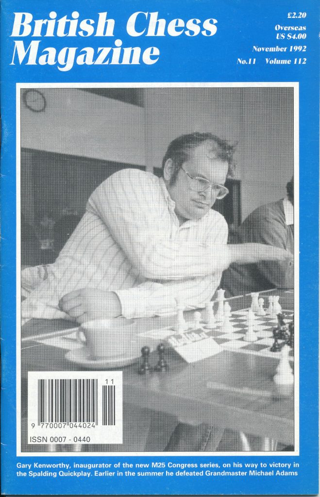 Gary Kenworthy, inaugurator of the new M25 Congress series, on his way to victory in the Spalding Quickplay. Earlier in the summer he defeated Grandmaster Michael Adams