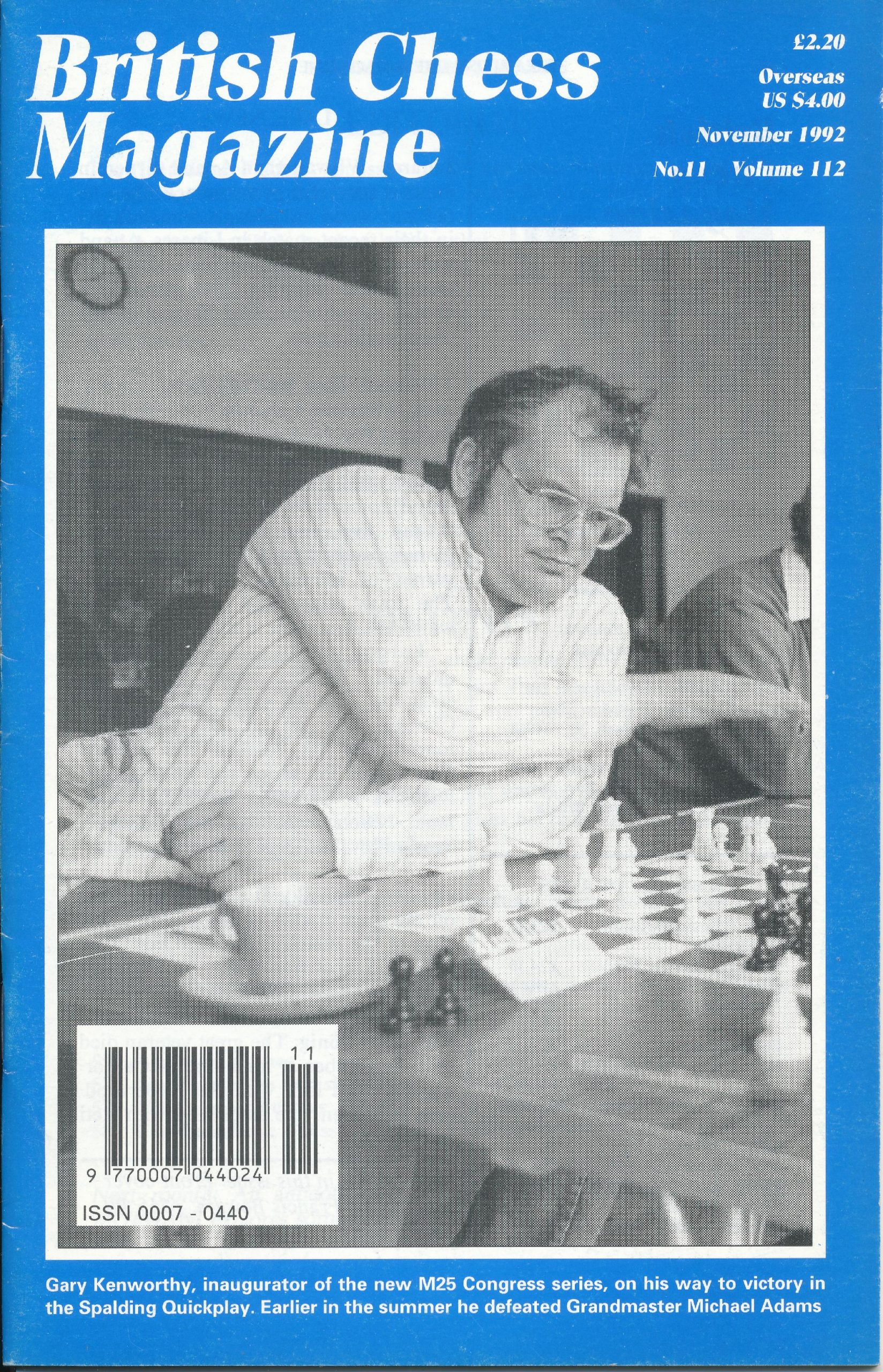 Gary Kenworthy, inaugurator of the new M25 Congress series, on his way to victory in the Spalding Quickplay. Earlier in the summer he defeated Grandmaster Michael Adams, photograph by Francis Bowers