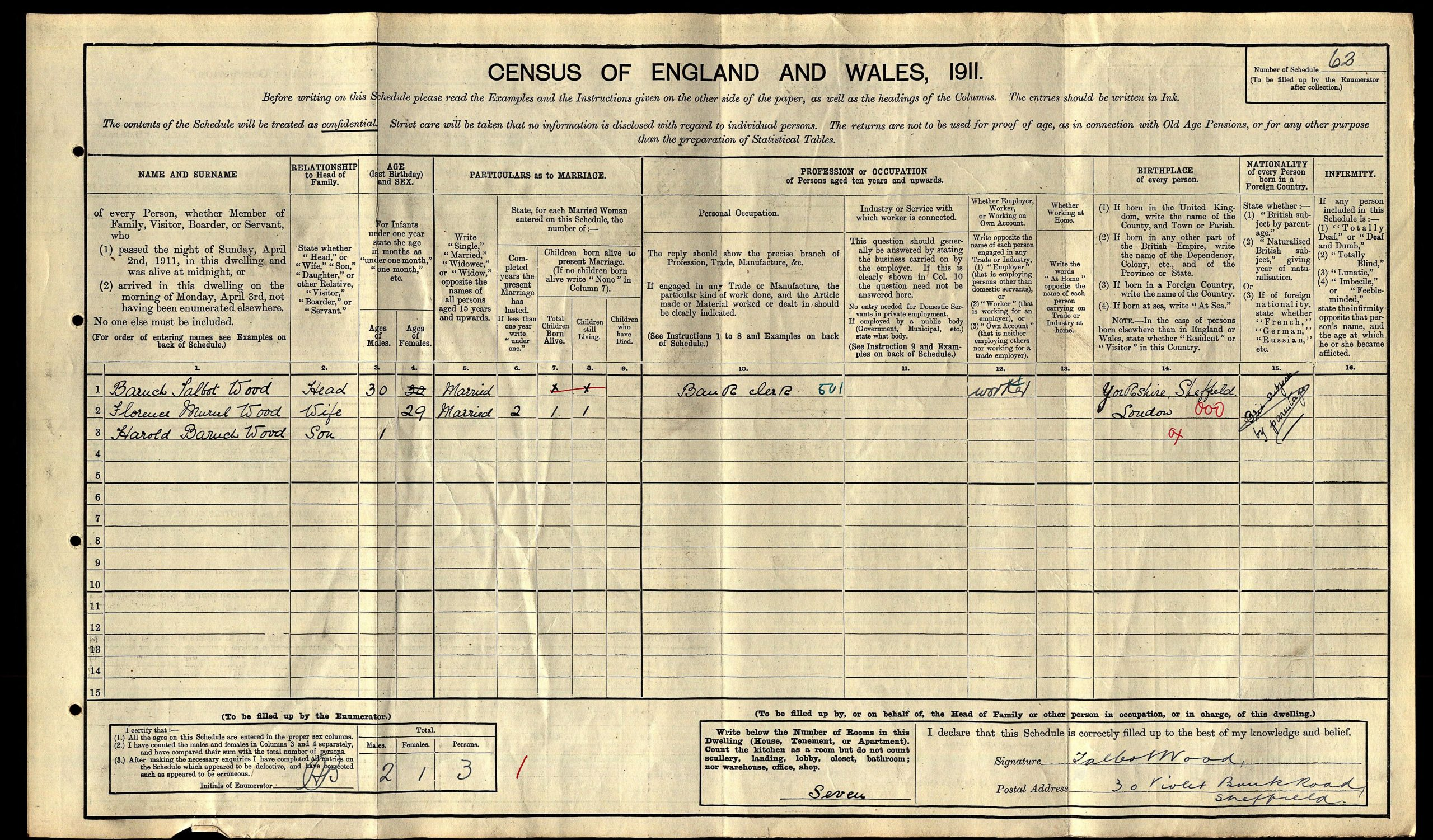 1911 Census record for the Wood household