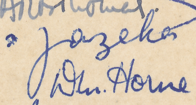 "Signature of S Fazekas from a Brian Reilly ""after dinner"" postcard from Southsea 1951."