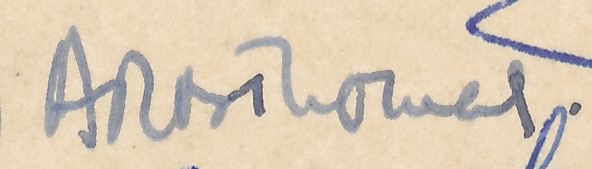 "Signature of ARB Thomas from a Brian Reilly ""after dinner"" postcard from Southsea 1951."