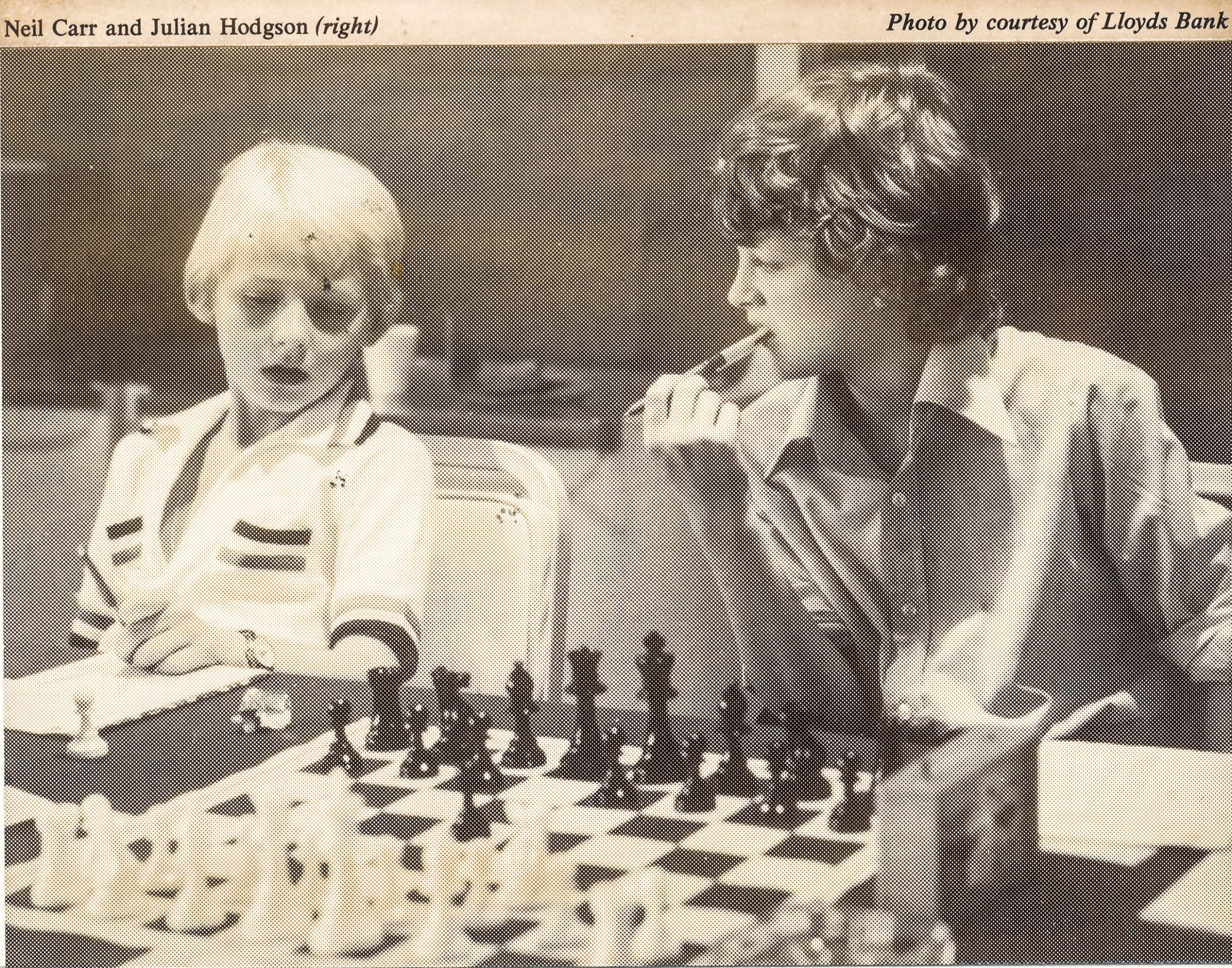 Neil Carr and Julian Hodgson at the 1976 Lloyds Bank Match by Telex, London - New York. From BCM, volume XCVI (96) Number 11 (August), Page 494. The venue was the Bloomsbury Hotel, London. Photo courtesy of Lloyds Bank.