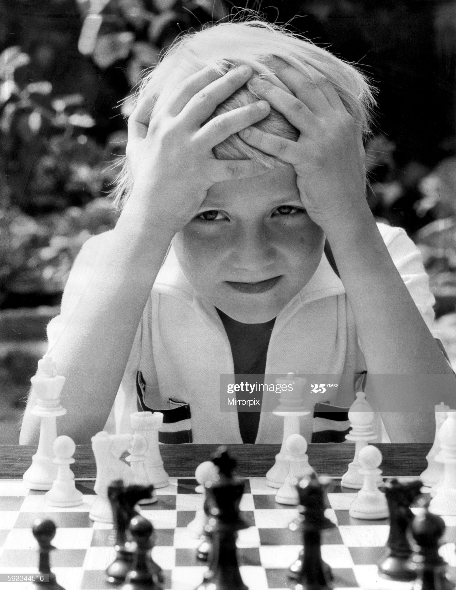 Eight year old Neil Carr of Barking, soon to become England's youngest ever chess international. 26th August 1976. (Photo by Daily Mirror/Mirrorpix/Mirrorpix via Getty Images)