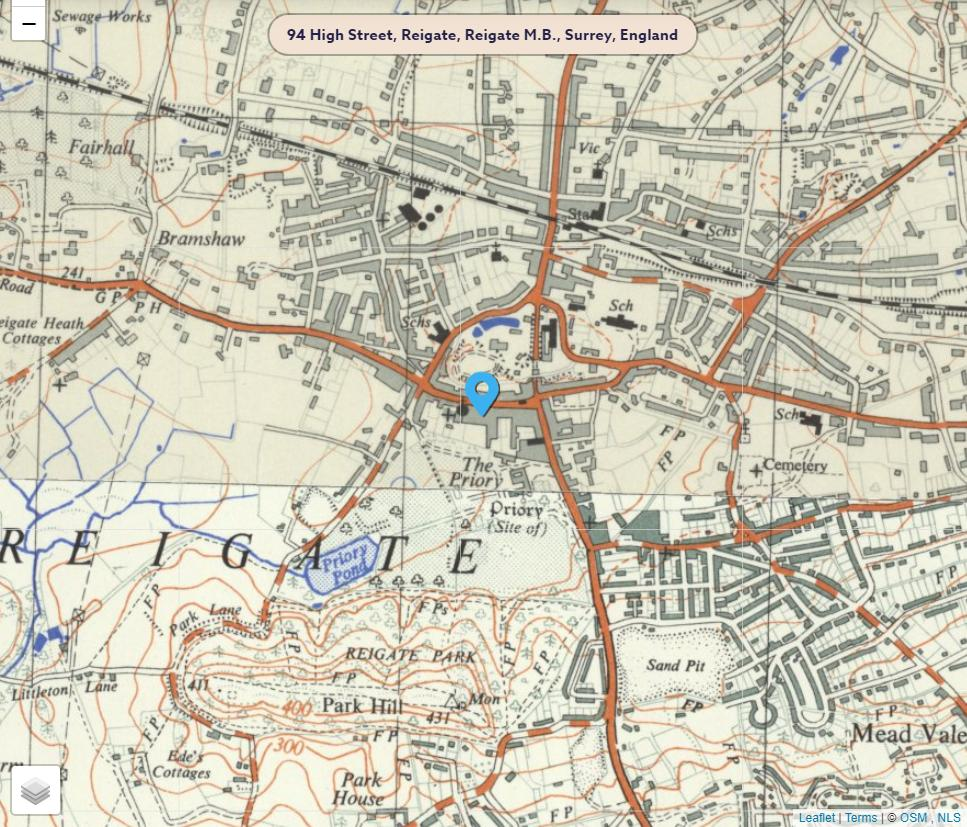 Historical Map showing 94, High Street, Reigate, Surrey